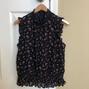 J.Crew Sleeveless floral smocked top size 4 navy